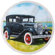Ford A Tudor Sedan Round Beach Towel