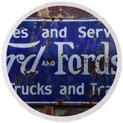 Ford And Fordson Sign Round Beach Towel