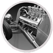 Ford Coupe Hot Rod Engine In Black And White Round Beach Towel