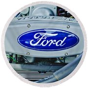 Ford Engine Emblem Round Beach Towel