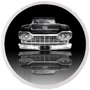 Ford F100 Truck Reflection On Black Round Beach Towel