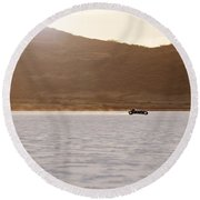 Ford Hot Rod On The Salt At Full Throttle Round Beach Towel