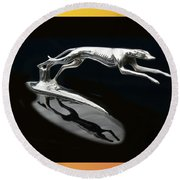 Ford Lincoln Greyhound Mascot Round Beach Towel