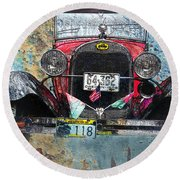 Ford Model A 1928 Oldtimer Round Beach Towel