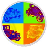 Ford Model A Roadster Pop Art Round Beach Towel