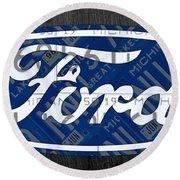 Ford Motor Company Retro Logo License Plate Art Round Beach Towel