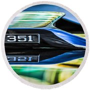 Ford Mustang 351 Engine Emblem -1011c Round Beach Towel