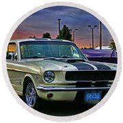 Ford Mustang At Sunset Round Beach Towel