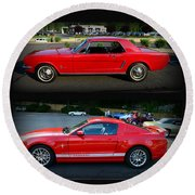 Ford Mustang Old Or New Round Beach Towel