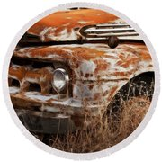 Ford Old School Bus Round Beach Towel