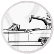 Retractable Ford Top Going Down Round Beach Towel