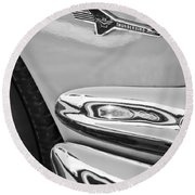 Ford Thunderbird Emblem -0505bw Round Beach Towel