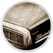 Ford Thunderbird Taillight Emblem Round Beach Towel