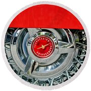 Ford Thunderbird Wheel Emblem Round Beach Towel