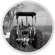 Ford Tractor Rear View Round Beach Towel