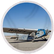 Ford Tri-motor Taxiing Round Beach Towel