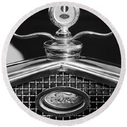 Ford Winged Hood Ornament Black And White Round Beach Towel