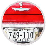 Ford With Minnesota Licence Plate Round Beach Towel