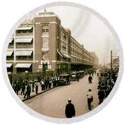 Ford Work Shift Change - Detroit 1916 Round Beach Towel