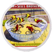 Forepaugh And Sells Wild Wheel Whirl Wonders Round Beach Towel