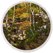 Forest Above The Cave Round Beach Towel