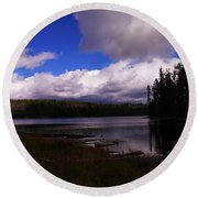 Forest And Clouds Round Beach Towel