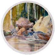Forest And River Round Beach Towel