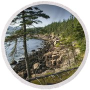 Forest And Rocky Shore In Acadia National Park Round Beach Towel