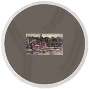 Forest Behind Temples  Round Beach Towel