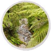 Forest Creek In Lush Rainforest Jungle Of Nz Round Beach Towel