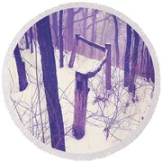 Forest Fence Round Beach Towel