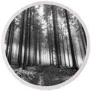 Forest In The Mist Round Beach Towel