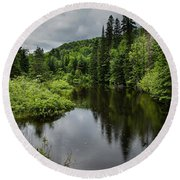 Forest Lake - Quebec - Canada Round Beach Towel