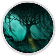 Forest Light Ethereal Fantasy Landscape  Round Beach Towel