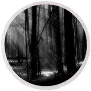 Forest Light In Black And White Round Beach Towel