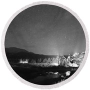 Forest Of Stars Above The Chapel On The Rock Bw Round Beach Towel