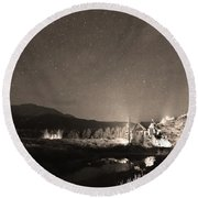 Forest Of Stars Above The Chapel On The Rock Sepia Round Beach Towel
