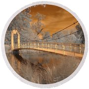 Forest Park Bridge Infrared Round Beach Towel