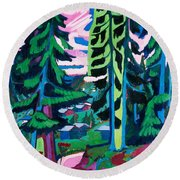 Forest Path In Summer Round Beach Towel