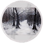 Forest Path In Winter Round Beach Towel