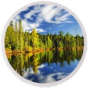 Forest Reflecting In Lake Round Beach Towel