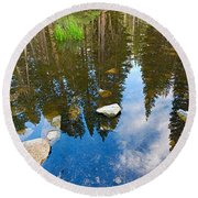 Forest Reflection Round Beach Towel