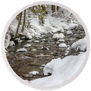 Winter Forest River Round Beach Towel
