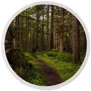 Forest Serenity Path Round Beach Towel