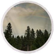 Forest Under The Rainbow Round Beach Towel