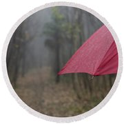 Forest With A Red Umbrella Round Beach Towel