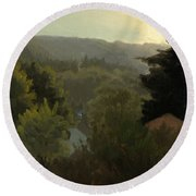 Forested Hills Round Beach Towel