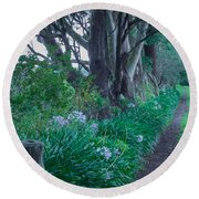 Forested Path Round Beach Towel