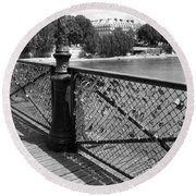 Forever Love In Paris - Black And White Round Beach Towel