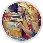 Forever Round Beach Towel by Mo T